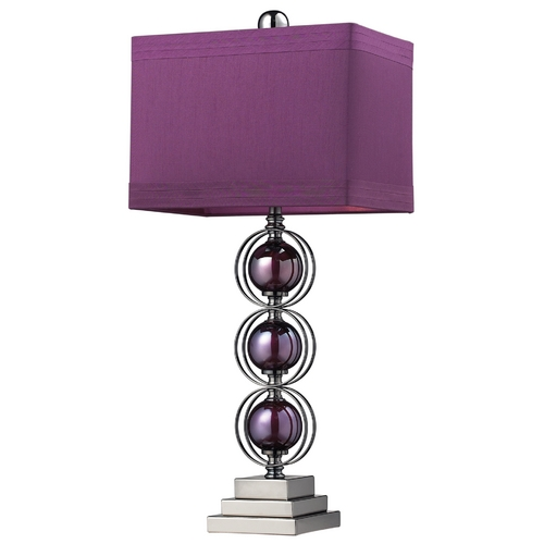 Elk Lighting Modern Table Lamp with Purple Shade in Purple / Black Nickel Finish D2232