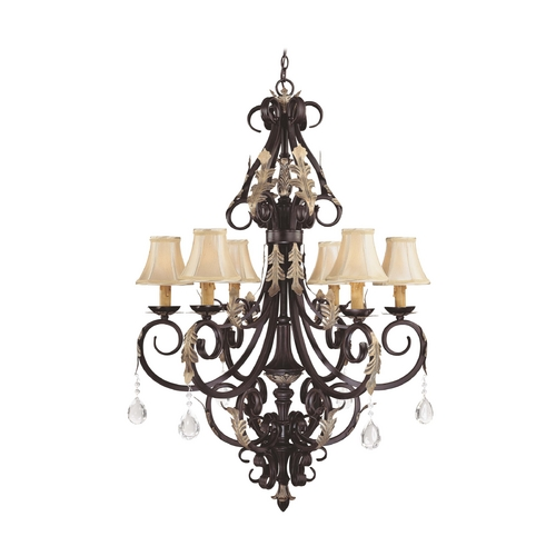 Minka Lavery Crystal Chandeliers in Castlewood Walnut W/silver Highlights Finish 776-301