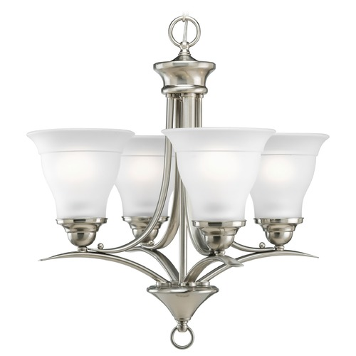 Progress Lighting Progress Chandelier with White Glass in Brushed Nickel Finish P4326-09