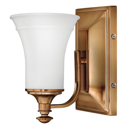 Hinkley Lighting Sconce with White Glass in Brushed Bronze Finish 5830BR
