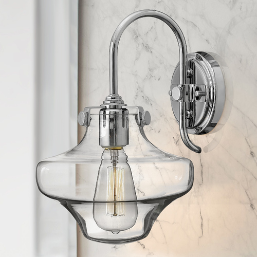 Hinkley Sconce Wall Light with Clear Glass in Chrome Finish 3171CM