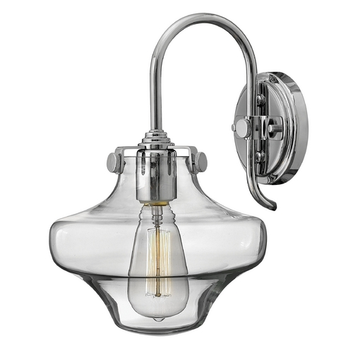 Hinkley Lighting Sconce Wall Light with Clear Glass in Chrome Finish 3171CM