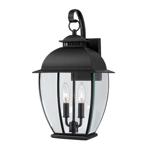 Quoizel Lighting Outdoor Wall Light with Clear Glass in Mystic Black Finish BAN8409K