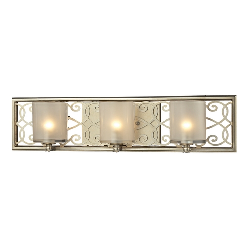 Elk Lighting Bathroom Light with White Glass in Aged Silver Finish 31428/3