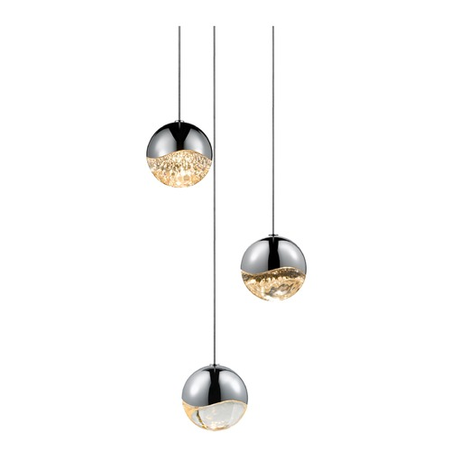 Sonneman Lighting Sonneman Grapes Polished Chrome 3 Light LED Multi-Light Pendant 2914.01-MED