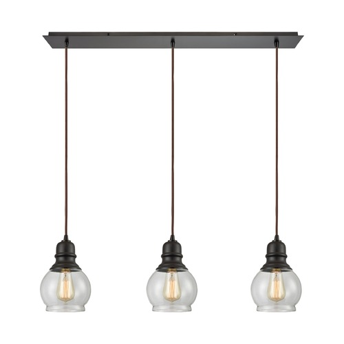 Elk Lighting Elk Lighting Menlow Park Oil Rubbed Bronze Multi-Light Pendant with Bowl / Dome Shade 60069/3LP