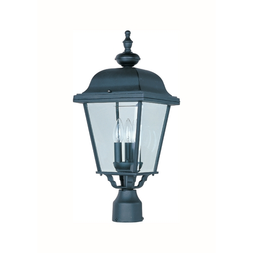 Maxim Lighting Post Light with Clear Glass in Black Finish 3008BK