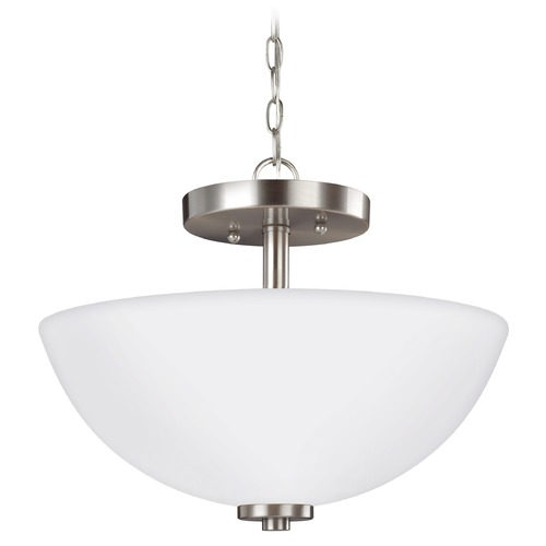 Sea Gull Lighting Sea Gull Lighting Oslo Brushed Nickel LED Pendant Light with Bowl / Dome Shade 77160EN3-962