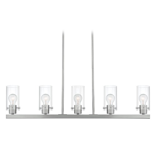 Satco Lighting Satco Lighting Sommerset Brushed Nickel Island Light with Cylindrical Shade 60/7176