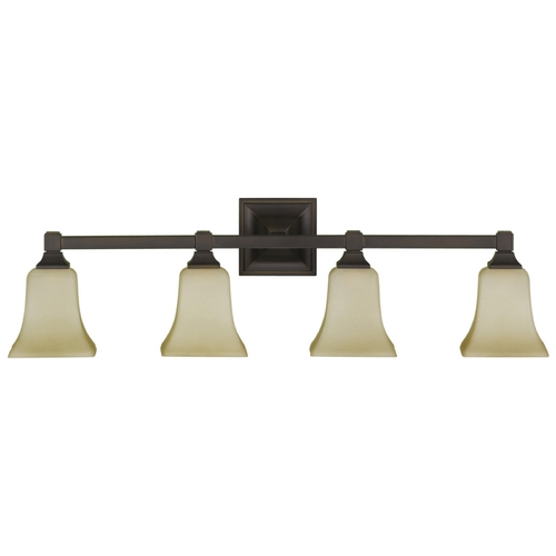 Feiss Lighting Modern Bathroom Light with Beige / Cream Glass in Oil Rubbed Bronze Finish VS12404-ORB