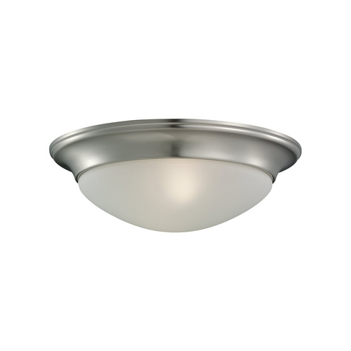 Sea Gull Lighting Flushmount Light with White Glass in Brushed Nickel Finish 75434-962