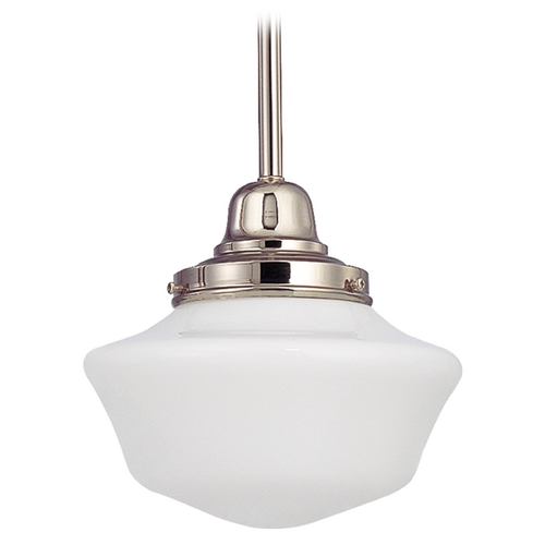 Design Classics Lighting 8-Inch Schoolhouse Mini-Pendant Light in Polished Nickel FB4-15 / GA8