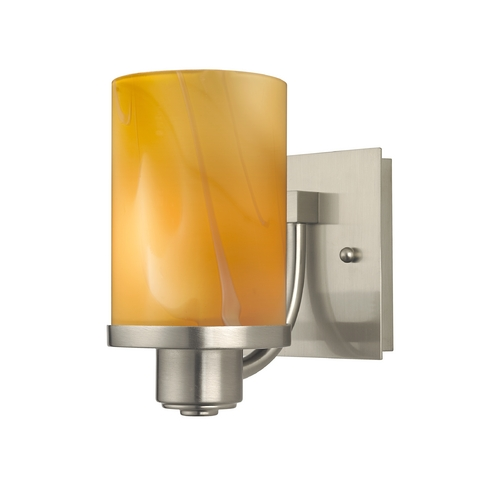 Design Classics Lighting Satin Nickel Wall Sconce with Butterscotch Art Glass Shade 589-09 GL1022C