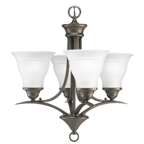 Progress Lighting Progress Chandelier with White Glass in Antique Bronze Finish P4326-20