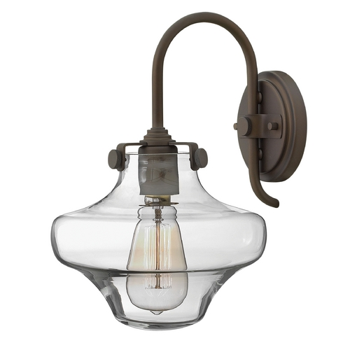 Hinkley Lighting Sconce Wall Light with Clear Glass in Oil Rubbed Bronze Finish 3171OZ