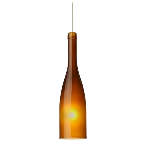 Besa Lighting Besa Lighting Botella Satin Nickel LED Mini-Pendant Light with Oblong Shade 1XT-1685AF-LED-SN