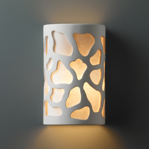 Justice Design Group Sconce Wall Light with White in Bisque Finish CER-7455-BIS