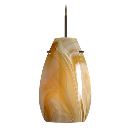 Besa Lighting Besa Lighting Pera Bronze LED Mini-Pendant Light with Oblong Shade 1JT-4126HN-LED-BR