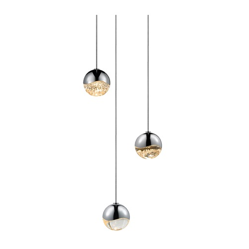Sonneman Lighting Sonneman Grapes Polished Chrome 3 Light LED Multi-Light Pendant   2914.01-SML