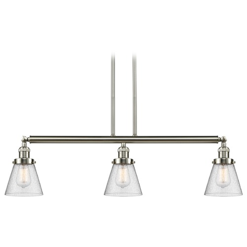 Innovations Lighting Innovations Lighting Small Cone Brushed Satin Nickel Island Light with Conical Shade 213-SN-S-G64