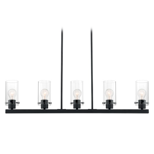 Satco Lighting Satco Lighting Sommerset Matte Black Island Light with Cylindrical Shade 60/7276