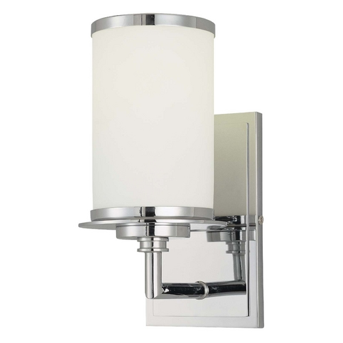 Minka Lighting Modern Sconce with White Glass in Chrome Finish 3721-77-PL