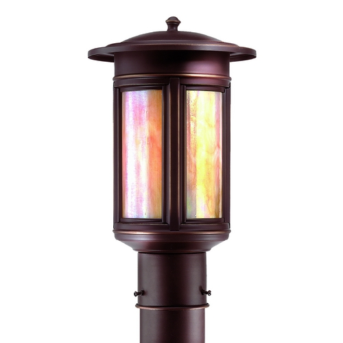 Troy Lighting Post Light with Iridescent Glass in Oil Rubbed Bronze Finish PIH6911OB