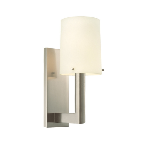 Sonneman Lighting Modern Sconce Wall Light with White Glass in Satin Nickel Finish 1912.13