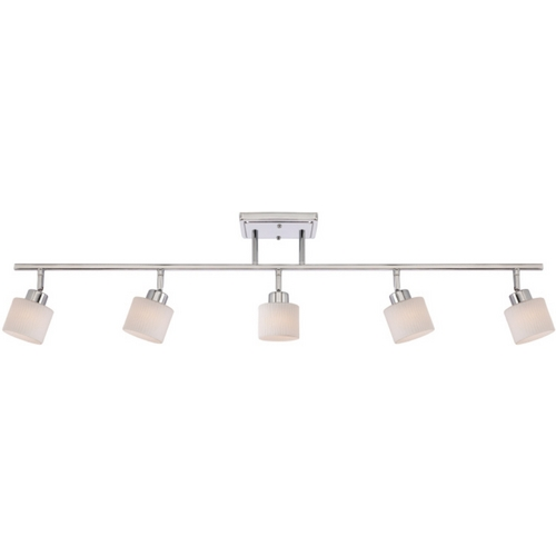 Quoizel Lighting Modern Track Light Kit with White Glass in Polished Chrome Finish PF1405C