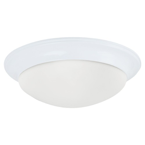 Sea Gull Lighting Flushmount Light with White Glass in White Finish 75435-15