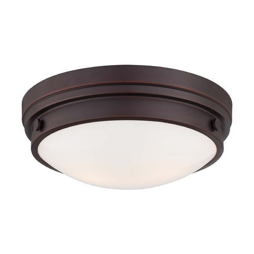Minka Lavery Flushmount Light with White Glass in Lathan Bronze Finish 823-167