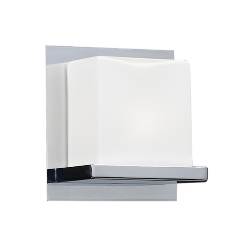 PLC Lighting Modern Sconce Wall Light with White Glass in Polished Chrome Finish 18151 PC