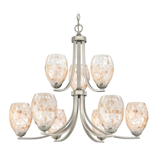 Design Classics Lighting Chandelier with Mosaic Glass in Satin Nickel Finish 586-09 GL1034