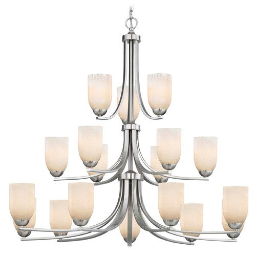 Design Classics Lighting Satin Nickel Chandelier 5863-09 GL1020D