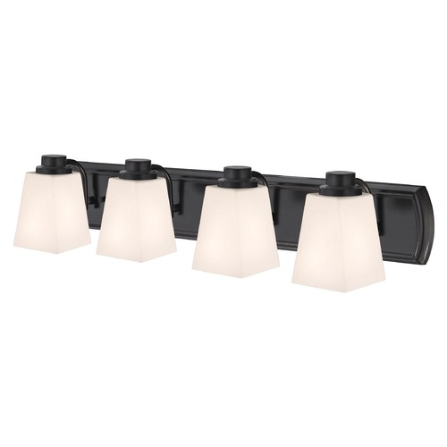Design Classics Lighting 4-Light Vanity Light in Bronze and Square White Glass 1204-36 GL1057