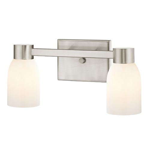 Design Classics Lighting 2-Light Shiny White Glass Bathroom Vanity Light Satin Nickel 2102-09 GL1024D