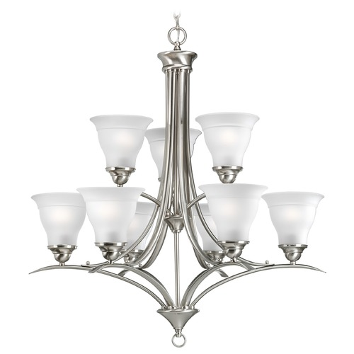 Progress Lighting Progress Chandelier with White Glass in Brushed Nickel Finish P4329-09