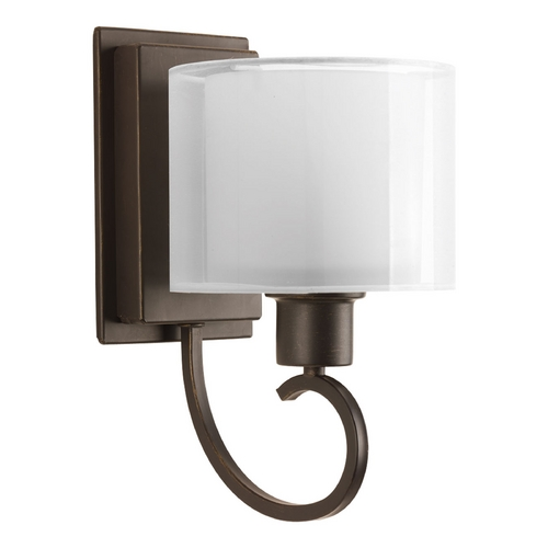 Progress Lighting Sconce Wall Light with White Glass in Antique Bronze Finish P2041-20