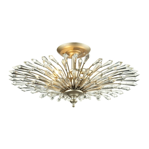 Elk Lighting Crystal Semi-Flushmount Light in Aged Silver Finish 31431/3