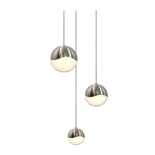 Sonneman Lighting Sonneman Grapes Satin Nickel 3 Light LED Multi-Light Pendant 2914.13-AST