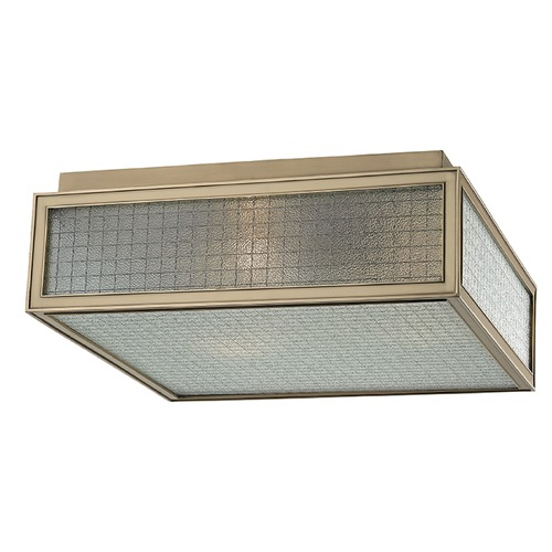 Hudson Valley Lighting Freemont 3 Light Flushmount Light Square Shade - Aged Brass 5614-AGB
