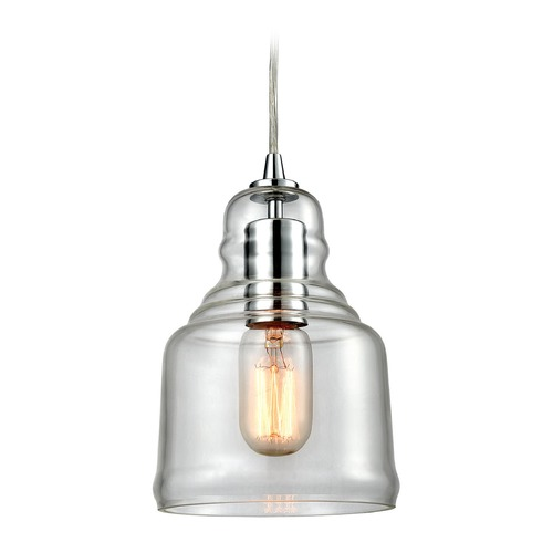 Elk Lighting Elk Lighting Menlow Park Polished Chrome Mini-Pendant Light with Bowl / Dome Shade 60072/1