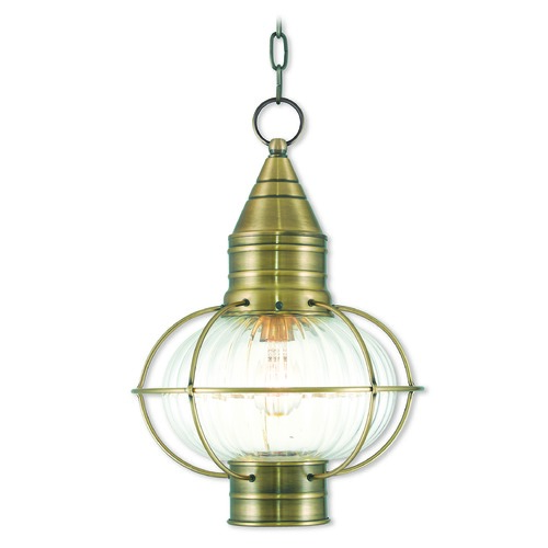 Livex Lighting Livex Lighting Newburyport Antique Brass Outdoor Hanging Light 27006-01