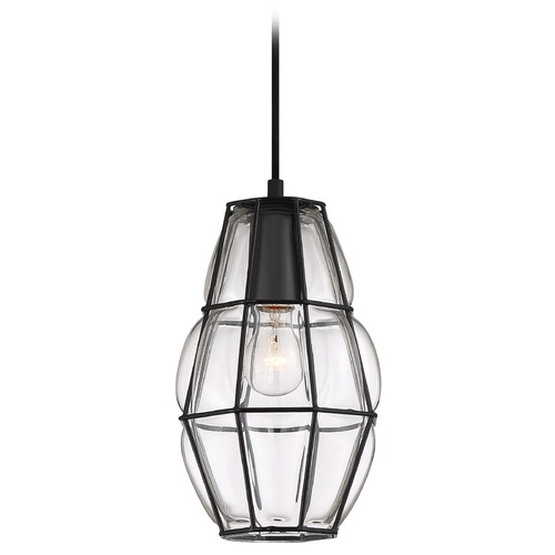 Quoizel Lighting Quoizel Lighting Blythe Earth Black Pendant Light with Abstract Shade BLH1508EK