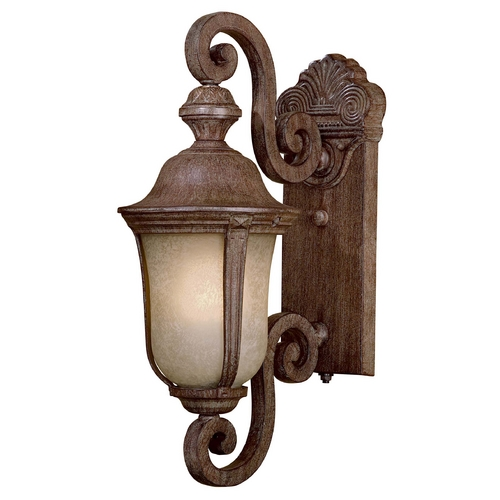 Minka Lavery Outdoor Wall Light with Beige / Cream Glass in Vintage Rust Finish 8990-61-PL