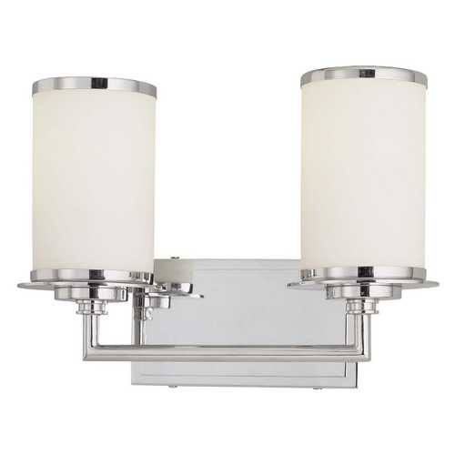 Minka Lavery Modern Bathroom Light with White Glass in Chrome Finish 3722-77-PL