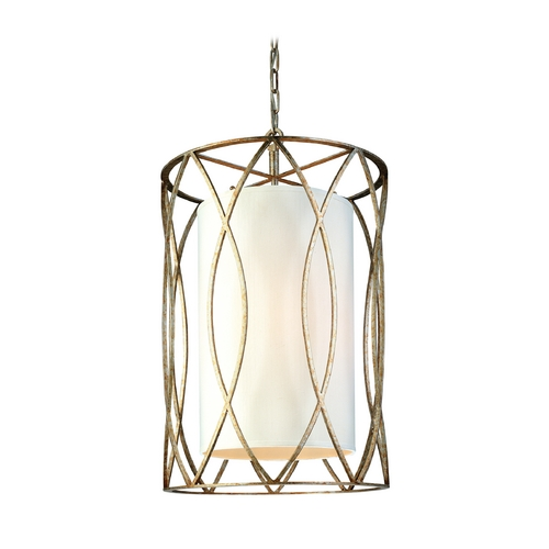 Troy Lighting Pendant Light with White Shades in Silver Gold Finish F1284SG