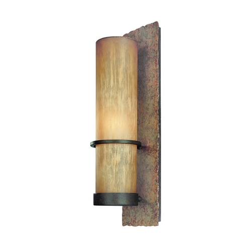 Troy Lighting Outdoor Wall Light with Beige / Cream Glass in Bamboo Bronze Finish BF1852BB