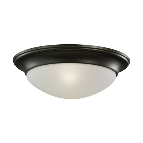 Sea Gull Lighting Flushmount Light with White Glass in Heirloom Bronze Finish 75435-782