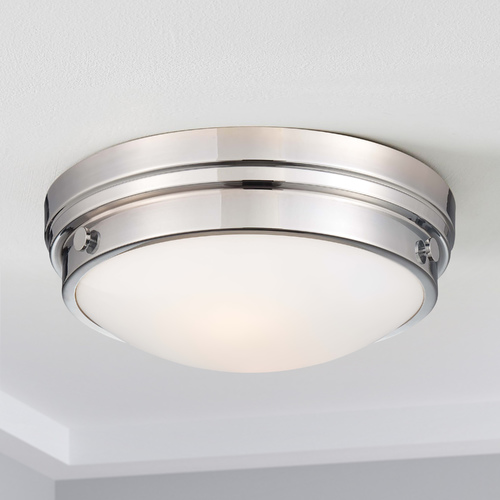 Minka Lavery Flushmount Light with White Glass in Chrome Finish 823-77